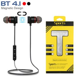 Wholesale iphone mic - Bluetooth Headphones Magnetic Wireless Running Sport Earphones Headset BT 4.1 with Mic MP3 Earbud For iPhone Huawei Samsung LG Smartphones