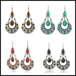 Wholesale 14k Gold Ruby Earrings - Fashion 3 Styles 6*3cm Dangles Bohimia Styles Ruby Turquoise Natural Stone Chandelier Jewelry Earring for Women Ladies