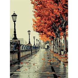 Ver imagens on-line-Artesailing Pictures By Número Outono Maple Park Street View Pinturas por Números Poster Imagem Números DIY Kit NP-024
