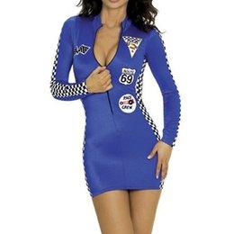 uniforme de latex azul Rebajas Sexy Fantasy Costume Racing Cheerleader Disfraz Adulto Uniformes Fantasias Adulto Mujeres Cheers Team Blue Set Disfraz