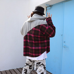 Wholesale Hooded Plaid Shirt Men - Tide brand oversize hooded neutral plaid shirt stitching fashion male and female loose letter printing hoodie