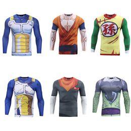Wholesale Shirt Dragon Ball - Brand Mens Clothing 3d Anime Dragon Ball T Shirt Character Vegeta  Cell  Android 17  Goku  Son Gohan Long Sleeve Tight Slim T -Shirt