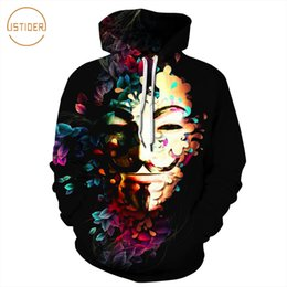 printed hoody for men Coupons - ISTider V for Vendetta Hoodies Sweatshirts 3D Smiling Clown Printed Hip Hop Hoodie Men Women Fashion Hoody Tops sudadera hombre