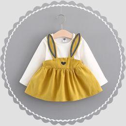 Wholesale Long Cotton Beach Skirts - Girls Dresses Long Sleeves Baby Dress Girls Cute Sweet Rabbit Ear Suspender Skirt Spring Autumn New Children Kids Clothing Free Shipping 957