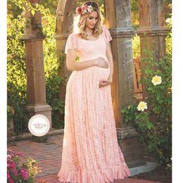 estilos de vestidos para mulheres grávidas Desconto SodawnLace Mulheres Grávidas Vestido Europa Estados Unidos Estilo Pregueado de Manga Curta Longo-vestido Fotográfico E Tornozelo Saia Grávida
