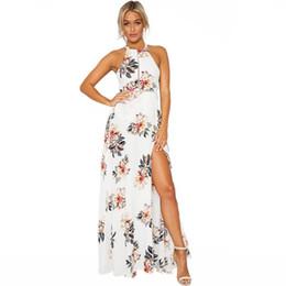 2018 Femmes Halter Neck en mousseline de soie robe imprimé floral sans manches Split dos nu robe longue élégante creux sur la plage Maxi Boho robe ? partir de fabricateur
