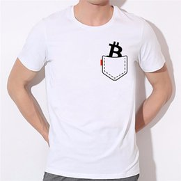 Wholesale Bit Coins - Men's Funny Pocket Bitcoin T-shirts Summer O Neck Short Sleeve Funny Design Bit Coin Coin T Shirts Women Bitcoin Top