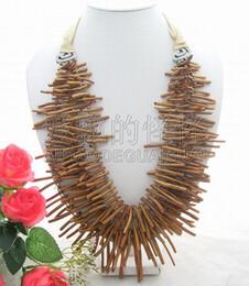N012921 Stupendo! 4Strands Golden Coral BranchCristallo Collana da