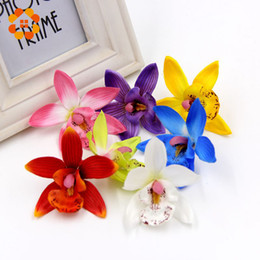 Wholesale Orchid Heads - Wholesale-50pcs lot 7.5cm Orchid Silk Artificial Flower Head For Wedding Decoration DIY Wreath Gift Scrapbooking Craft Fake Flower