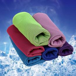 Canada 90 * 30 cm Ice Cold Towel Yoga en plein air Foulards de refroidissement Summer Heatstroke Prévention Sports Exercise Frozen Séchage Rapide Doux Respirant Cool Offre
