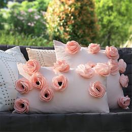 2020 cojines florales rosas mayor del diseñador Decoración floral rosada del extracto 3D Lanza Cojín Silla Funda de almohada del sofá familia real boda Funda Cojines cojines florales rosas baratos
