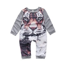 Wholesale tiger pattern clothing - Cute Baby Boys and Girls One-piece Rompers Cartoon 3D Tiger Pattern Children Jumpsuit INS Hot Sales Kids Clothes