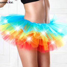 Wholesale Tutu Led - Adult dance Performance Skirt Colorful LED Tutu Skirts Up Neon Fancy Rainbow Fancy Costume light Mini Tutu Skirt