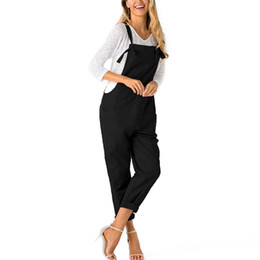 Active Women Casual Straps Pockets Jumpsuit Women Strap Wide Legs Bodycon Jumpsuit Cowboy Romper Sleeveless Denim Trousers Clubwear Women's Clothing
