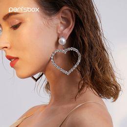 Circonia cúbica grande online-Peri'sBox Shiny Cubic Zirconia Large Hoops Earrings para Mujeres Oversized Big Heart Earrings Luxury Clear Crystal Hoop