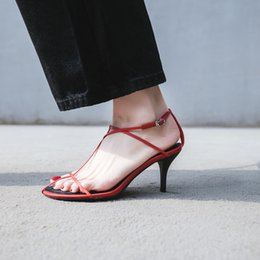 70bf507660e03 Thic Simple Design Thin Strap Leather Sandals Lady Open Toe High Heel  Sandals Shoes
