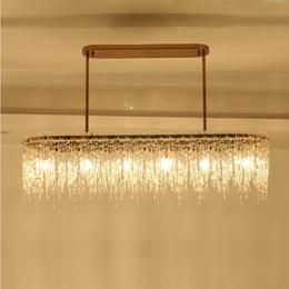 lustre retangular sala de jantar luzes Desconto Modern retangular sala de jantar lâmpada lustre água cachoeira bar luz lustre de luxo designer de sala de modelo lâmpadas LED