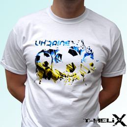 Bandeiras brancas baratas on-line-Bandeira do futebol da ucrânia-camiseta branca top futebol-mens crianças das crianças do bebê tamanhos 2018 New Fashion T shirt frete grátis tee barato