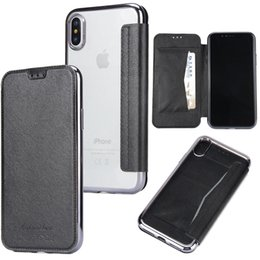 Wholesale Slim Cell - hot sale cell phone case super slim card holder flip chrome tpu cover leather wallet case for iphone x 6s 6 7 8 plus