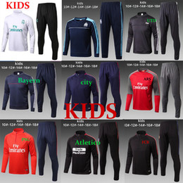 Wholesale training suit kid - Kids 2017 2018 TOP THAI QUALITY New 17 18 Real Madrid Kids soccer chandal marseille NEYMAR JR MESSI football Long tracksuit training suit