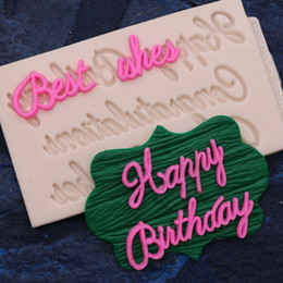 2019 pasta de goma Molde do bolo de silicone melhores desejos parabéns feliz aniversário fondant ferramenta de decoração do bolo alfabeto molde de pasta de goma pasta de goma barato