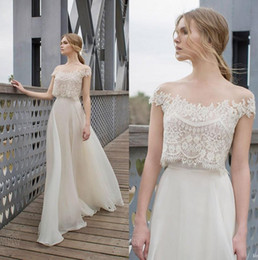 Wholesale Muslim Best Wedding Dresses - Best Design Ivory 2 Piece Organza Beach Country Wedding Dresses Off The Shoulder Top Lace Beaded Bohemian Bridal Gowns Cheap 2018 berta Chic