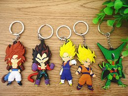 Wholesale Keychain Dragon - Anime Dragon Ball Monkey Keychain Son Goku Super Saiyan Silicone PVC Keychain action figure pendant Keyring Collection toy
