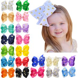 Wholesale large stamps - 20 Colors 8Inch Baby Ribbon Bow Hairpin Stamp Dot Clips Girls Large Bowknot Barrette Kids Hair Boutique Children Hair Accessories KFJ167