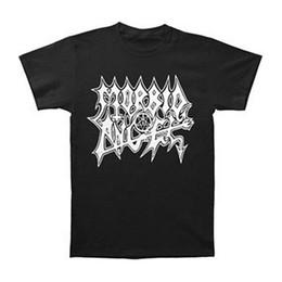 Музыка черных ангелов онлайн-Morbid Angel мужская белый логотип экстремальная музыка футболка черный мужские 2018 модный бренд Майка топы O-образным вырезом 100%хлопок футболки топы Tee custo
