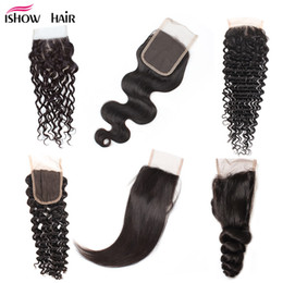 Wholesale deep wave closures - 8A Cheap Brazilian Human Hair Closure 4*4 Waterwave Peruvian Hair Deep Body Loose Wave Straight Free Part Swiss Lace Closure Free Shipping