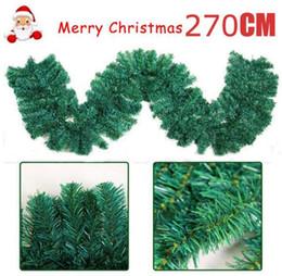pulseiras de plástico Desconto 2.7 m (9ft) Grinaldas Artificiais Verde Guirlanda de Natal Guirlanda Lareira para o Natal de Ano Novo Decoração de Casa Em Casa Do Partido 160 H / 200 H