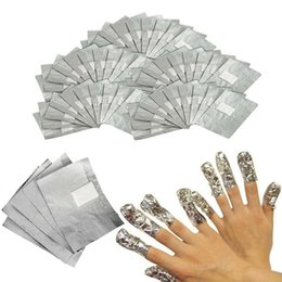 Wholesale nail foiling - 100Pcs Lot Aluminium Foil Nail Art Soak Off Acrylic Gel Polish Nail Removal Wraps with Cotton Pad Remover Makeup Tool Nail Carel 3001220