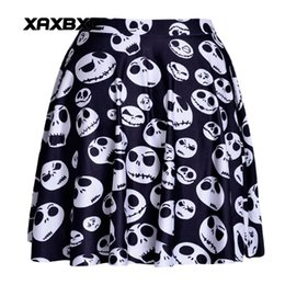 Wholesale Girls Jack - NEW 1123 Summer Sexy Girl Jack Skull Nightmare Before Christmas Printed Cheering Squad Tutu Skater Women Mini Pleated Skirt