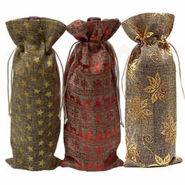 2019 rústico navidad Botella de vino de yute bolsa cubre Champagne Vino Ciegos Bolsas de regalo de embalaje Rústico Hessian Navidad Cena de boda Tabla Decorar 300 unids T1I987 rústico navidad baratos