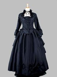 cosplay viktorianische kleider Rabatt Zweiteilige Gothic Black Thai Seide viktorianischen 1870 / 90s Treiben Kleid Party Kleid Cosplay