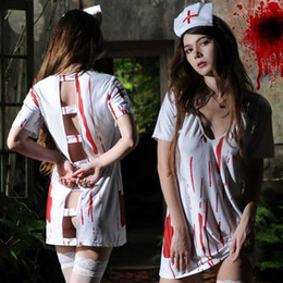 e205574183cdb Free Shipping New sexy lingerie cosplay Halloween Ghost Festival horror  bloody nurse clothes with blood adult female nurse doctor clothes gh