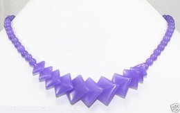 """Wholesale Green New Jade Beads - New Exquisite Natural Lavender Jade Gemstone Round&Square Beads Necklace 17"""" AAA<<< Free Shipping"""