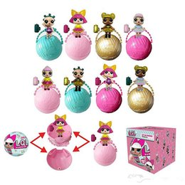 Wholesale Color Changing Toys - 7cm Kawaii Glitter Doll LOL Doll Color Change Egg Ball Dress Up Toy Action Figure Dolls Funny Kids Gift