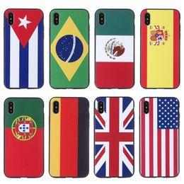 2019 bandiere della nazione Vari Nation Flag Pattern Cassa del telefono dipinta Fahion TPU copertura posteriore del PC per il telefono X 8 7 6 Plus con sacchetto OPP MPS2 sconti bandiere della nazione