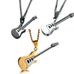stainless steel guitar slide Promo Codes - Guitar Necklace For Men Women Music Lover Gift Black Gold Color Stainless Steel Pendant & Chain Hip Hop Rock Jewelry