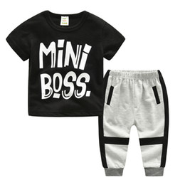 Wholesale boys kids formal suits - 2018 New mini boss letters Children's Clothing For Boys And Girls Sports Suit Baby Infant Short Sleeve Clothes Kids Set