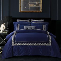 Wholesale Royal Blue Bedding - Wholesale- top grade luxury silk feel royal blue embroidered cotton european style 6pcs bed sheet bedclothes duvet cover set bedding set