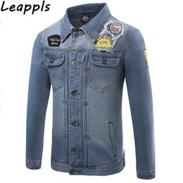 g diseño de letras Rebajas Chaquetas de mezclilla Leappls para hombre más el tamaño 4XL Diseños de parche de moda algodón Letra g denim denim prendas de vestir exteriores tops jaqueta masculina abrigos