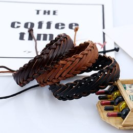 Wholesale ladies leather bracelets charms - 2018 New Style 3 Color Leather Bracelet Leisure Retro Multi-layer Bracelet Ladies Men Charm Style Handmade Braided Gift