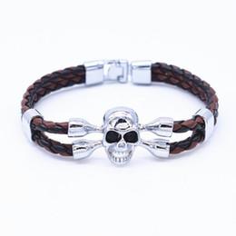 2019 bracelets de manchette en cuir Vente en gros- 2016 Punk Squelette Bracelet femme Bracelet en cuir Bracelet manchette Skull Bracelets pour les femmes Mens cristal Snaps bijoux pulseras bracelets de manchette en cuir pas cher