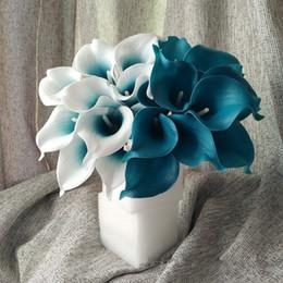 Hochzeit herzstücke blumen blau online-Oasis Teal Hochzeit Blumen Teal Blue Calla Lilien 10 Stem Real Touch Calla Lily Bouquet Hochzeit Mittelstücke Arrangement Dekorieren