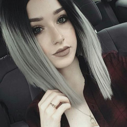Wholesale Cheap Cosplay - Aisi Beauty Synthetic Bob Wigs Cosplay Ombre Grey Short Straight Bob Wigs For Black Women Cheap Price Bob Wigs