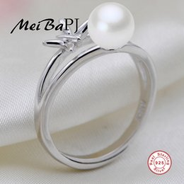 Wholesale Sterling Silver Freshwater Pearl Ring - whole sale[MeiBaPJ]Real 925 sterling silver ring 100% natural freshwater pearl women ring Bohemia jewelry white pink purple balck 4 colors