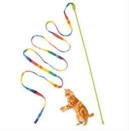 2019 papier spielzeug zug Freies Verschiffen Großhandel Haustier Katze Spielzeug Nette Lustige Rod Wand Kunststoff Spielzeug für Katzen Rod Interaktive Spielzeug