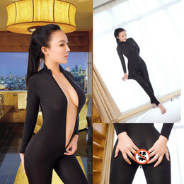 44fef50bed74 2018 Sexy Open Crotch Bodycon Long Sleeve Jumpsuits Fashion Mesh  See-Through Black Romper Skinny Double Zipper Overalls Femme